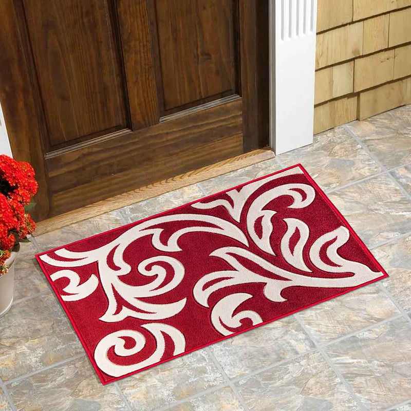 Modern Area Red & Cream Rug For Living Room