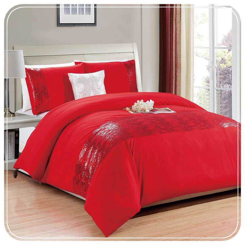 Sequin Embroidered Red Duvet Covers set