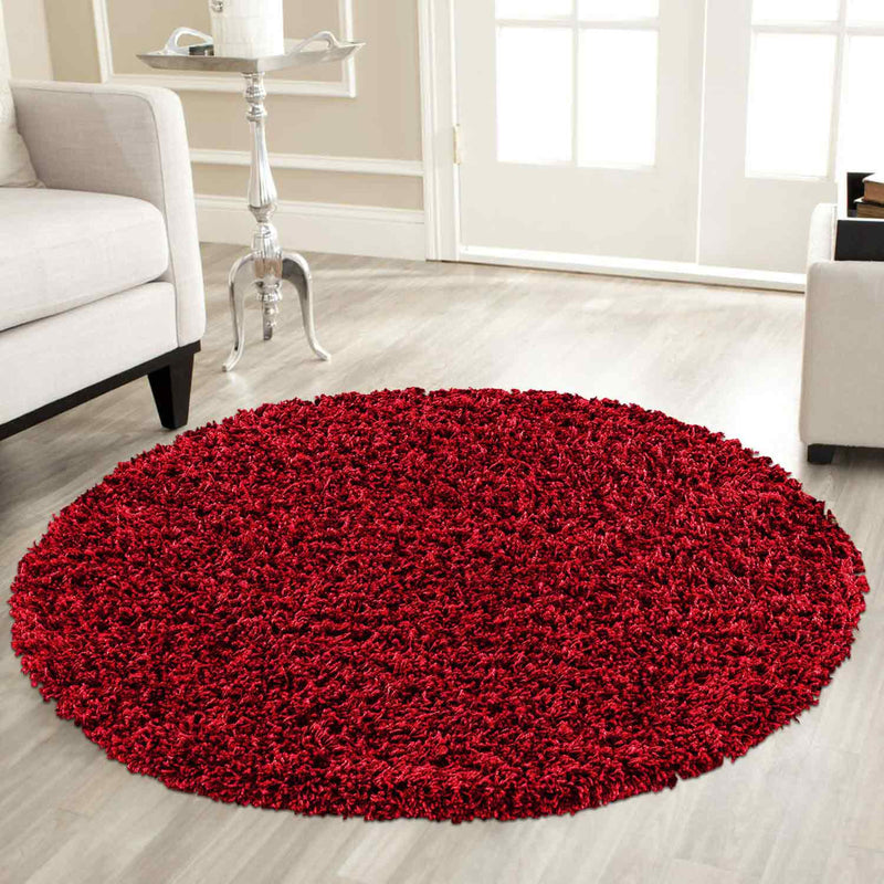 Plain Round Shaggy Red Circular Rugs For Dining Room