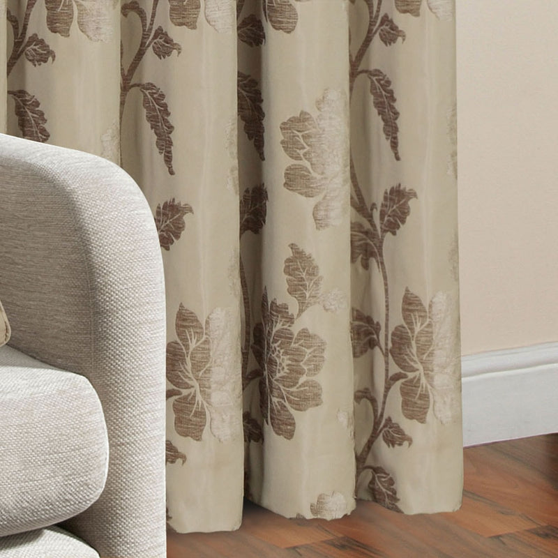 Floral Jacquard Fully Lined Beige Pencil Pleat Curtains