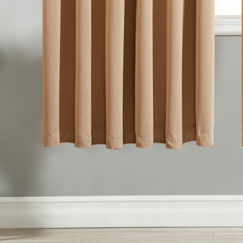 Blackout Ready Made Beige Pencil Pleat Window Curtains
