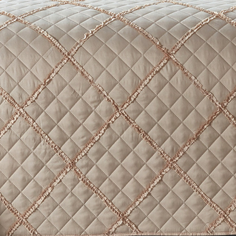 Ruffle Check Embossed Quilted Bedspread Set Beige