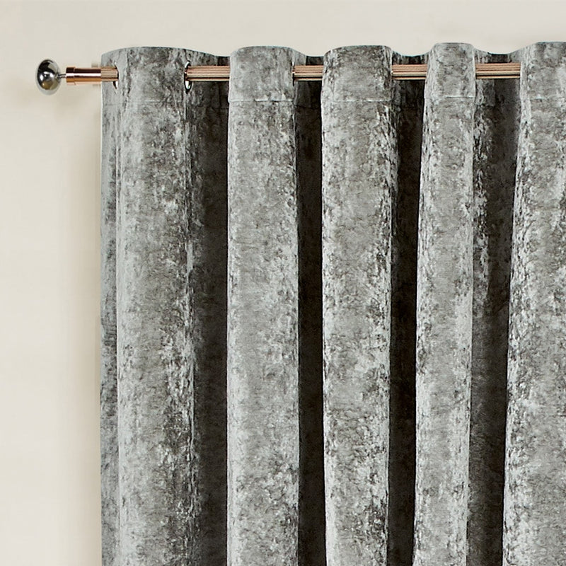 Ready Made Eyelet Silver Crushed Velvet Curtains