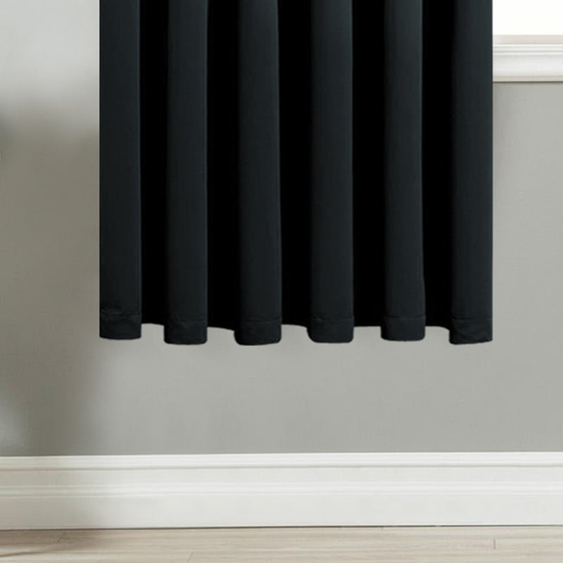 Blackout Ready Made Black Pencil Pleat Curtains