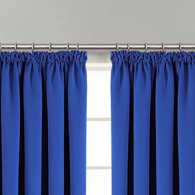 Blackout Pencil Pleat Blue ready made Curtains