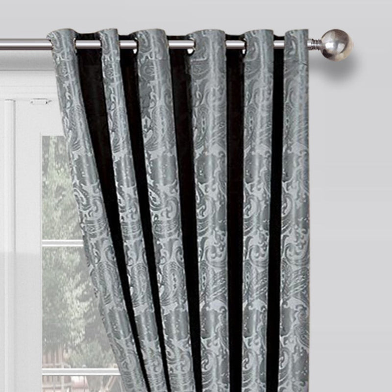 Jacquard Fully Lined Eyelet Silver Curtains