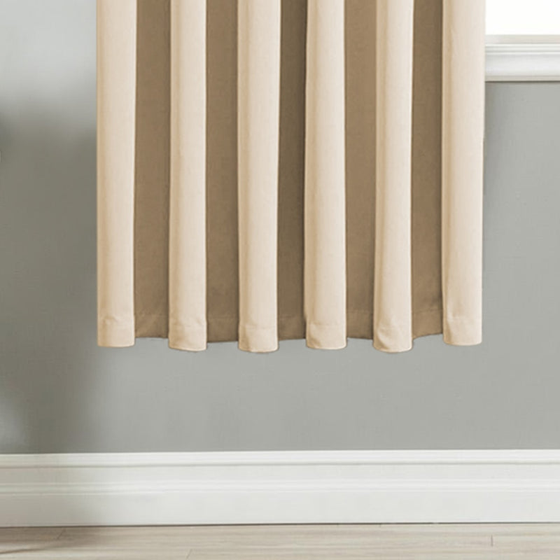Thermal Insulated Blackout Cream Eyelet-Ring Curtains