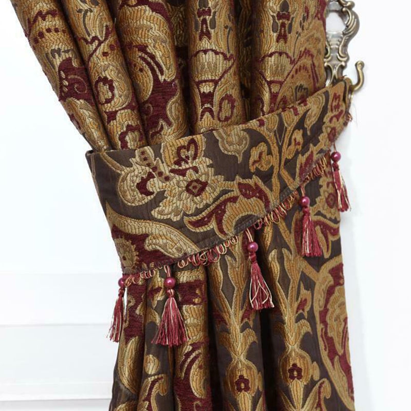 Jacquard Pencil Pleat Pelmet Floral Burgundy Curtains