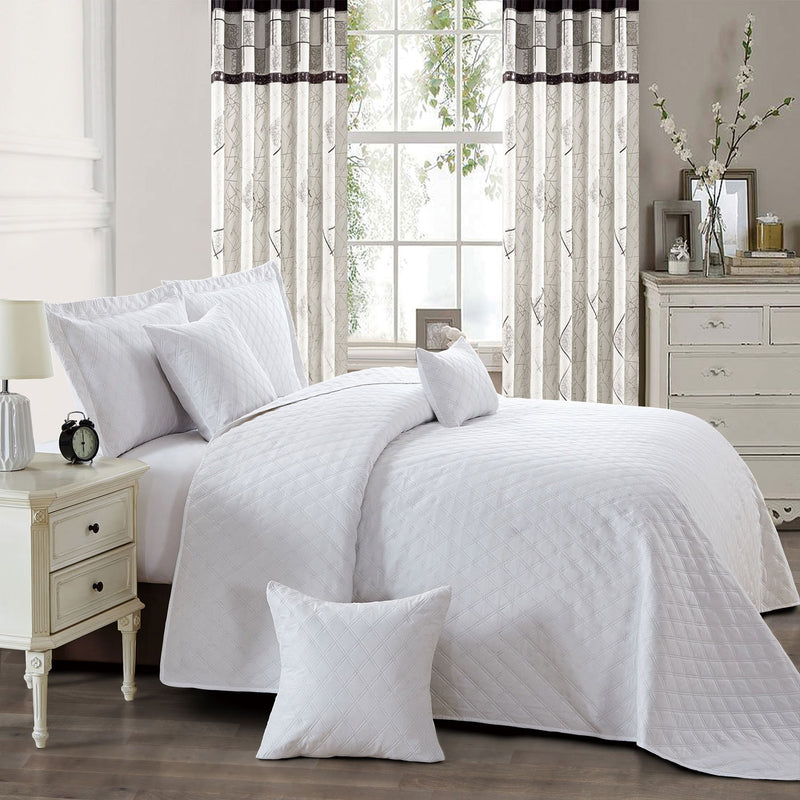 3 Piece Inspiration Quilted Bedspread Set White Bedding