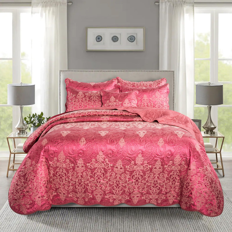 Bedding Sets Satin Embroidered Burgundy Bedspread