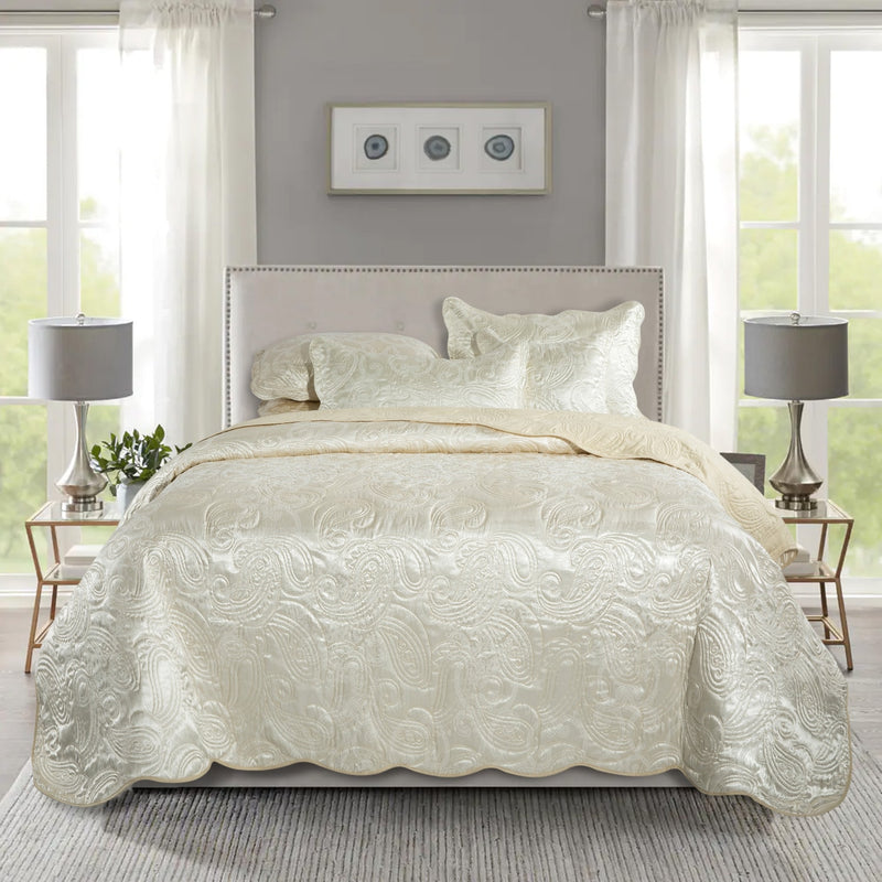 Embroidered Bedding Quilted Bedspread Set Cream