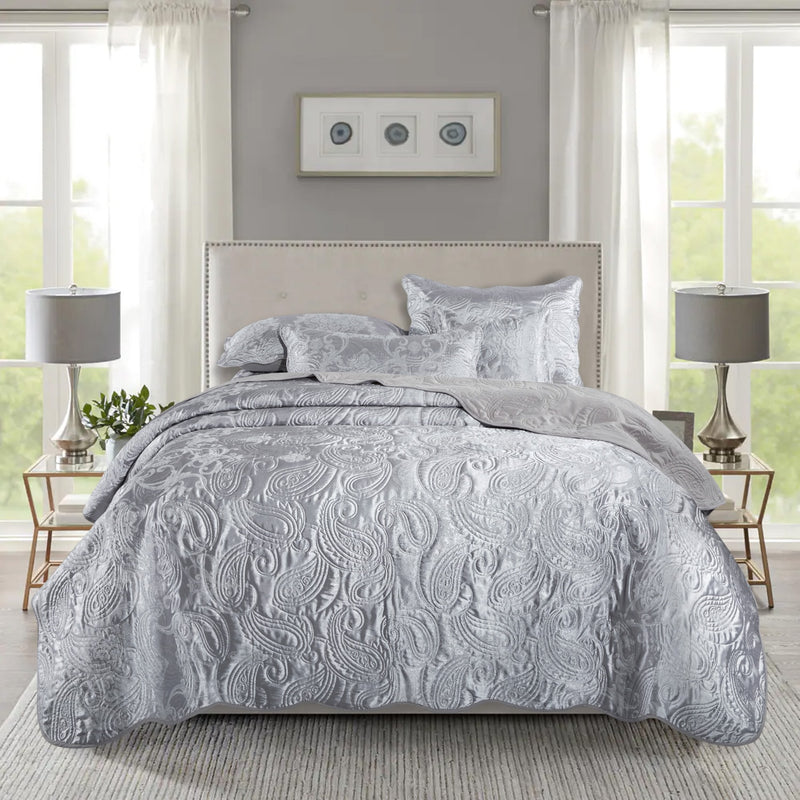 Grey Bedding Sets Quilted Bedspreads