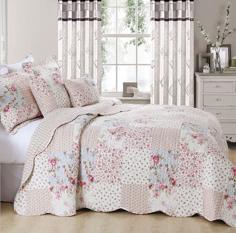 Pink Floral with Check Printed Patchwork Bedspread Set