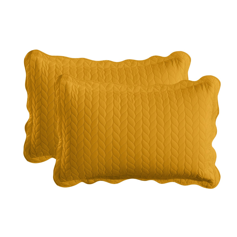 Microfiber Embossed Quilted Bedding Bedspread Set Mustard