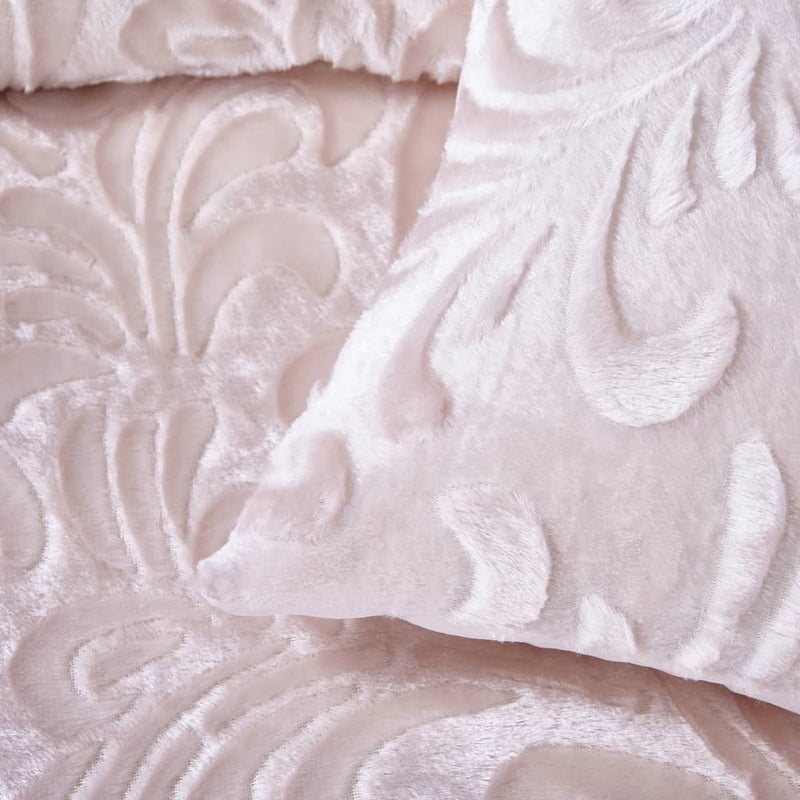 Pressed Velvet Quilt Duvet Cover Set Pink