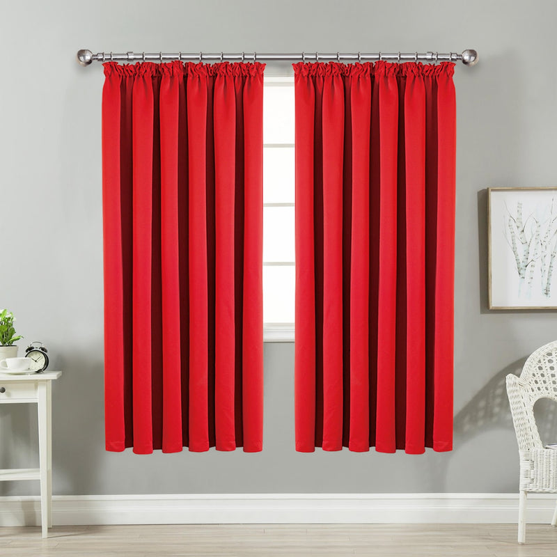 Blackout Ready Made Red Pencil Pleat Curtains
