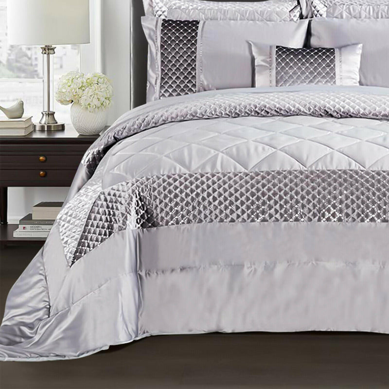 3 piece Sequin Quilted Comforter Bedding Set Silver
