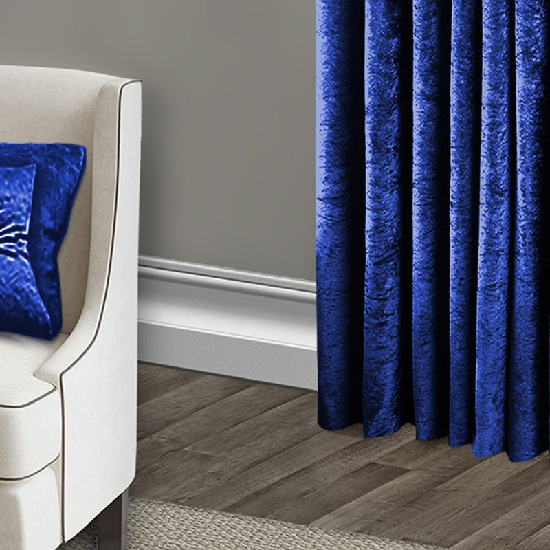 Blue Eyelet Crushed Velvet Curtains