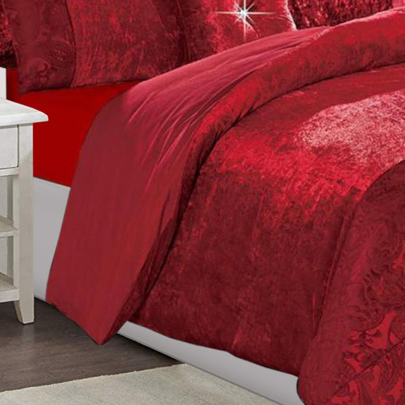 3 Piece Velvet Crushed Duvet Cover Set Red