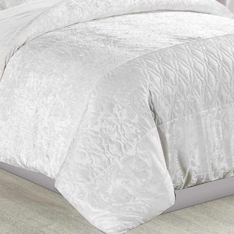 3 Piece Crushed Velvet Duvet Cover Set White