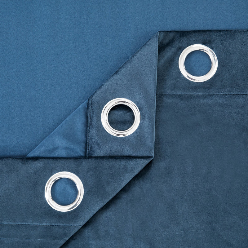 Crushed Velvet Eyelet Blue Ready Made Curtains