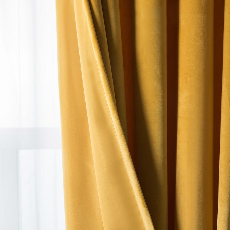 Ochre Crushed Velvet Ready Made Eyelet Curtains