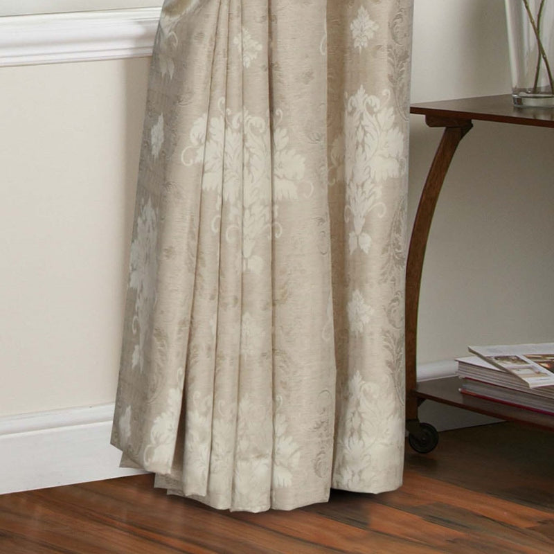 Jacquard Fully Lined Beige Pencil Pleat Curtains