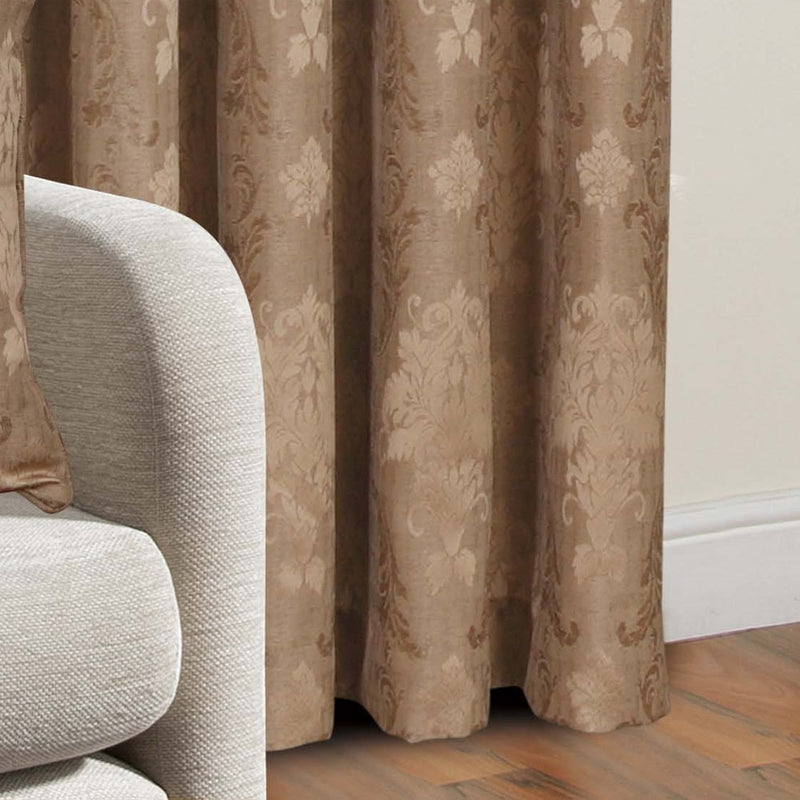 Jacquard Fully Lined Coffee Pencil Pleat Curtains