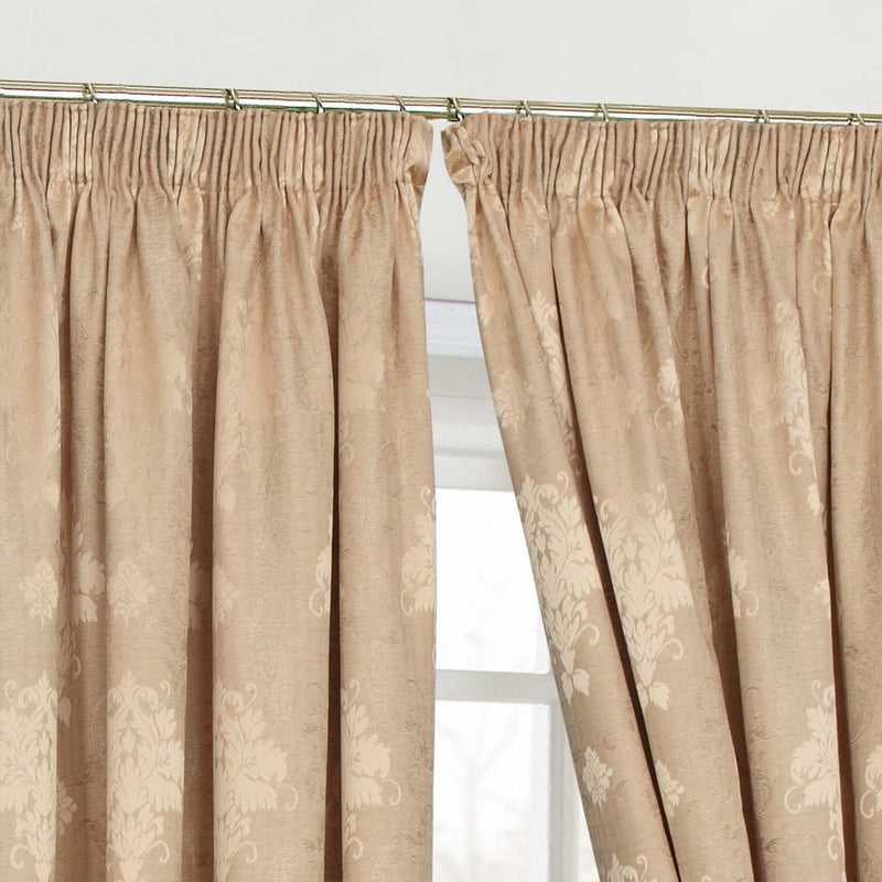 Jacquard Fully Lined Gold Pencil Pleat Curtains