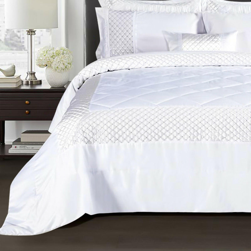 3 piece Sequin Quilted Comforter Bedding Set White