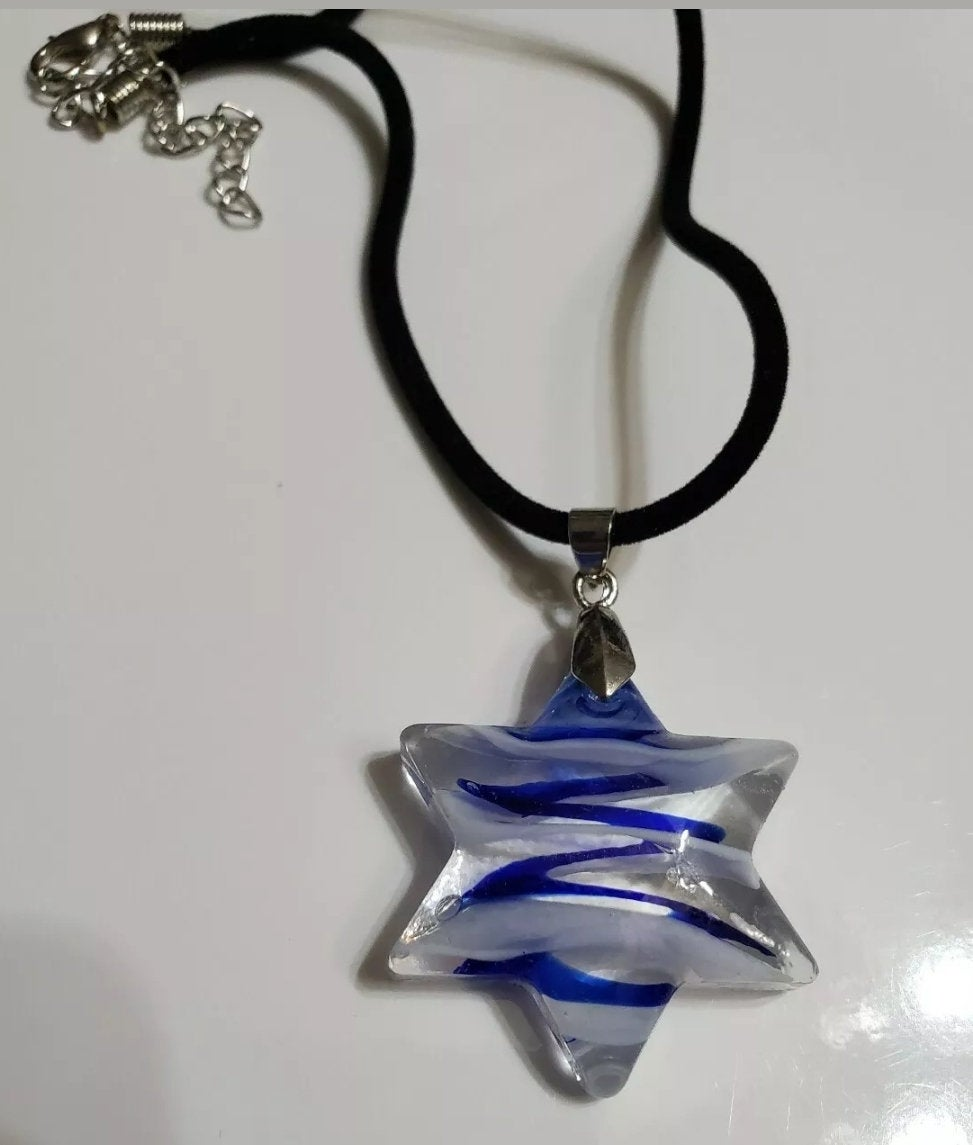 Star of david necklace Judiaca Jewlery Colorful Glass Pendant with rope chain-Brand New