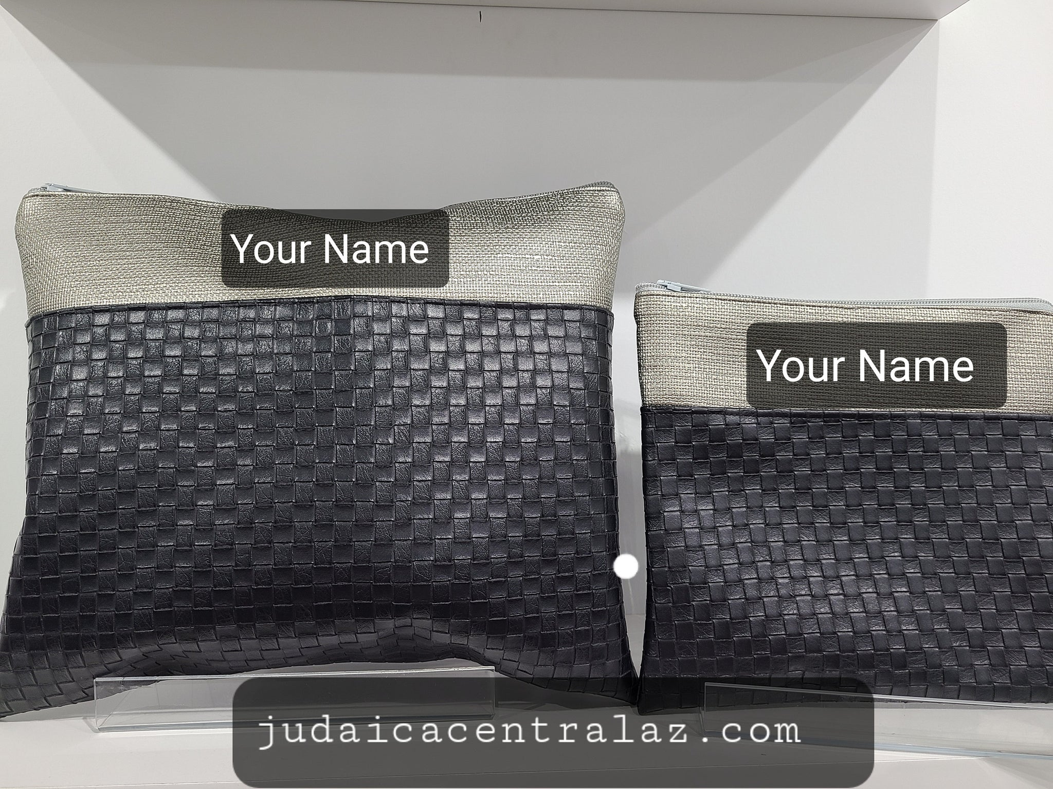 Tallit & Tefillin Prayer Shawl Bag Set- faux  Leather with Custom Embroidery of your Name included