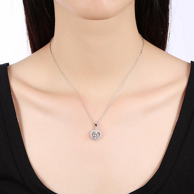 Halo Heart Sterling Silver Necklace