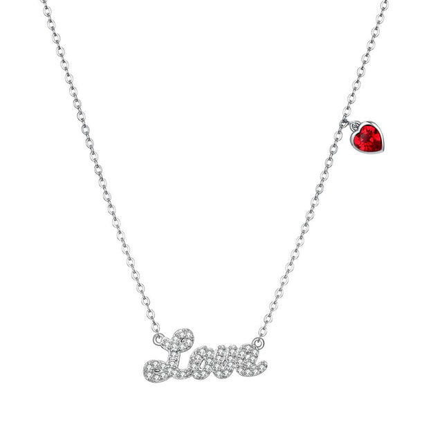 LOVE  Sterling Silver Necklace with Swarovski Crystals