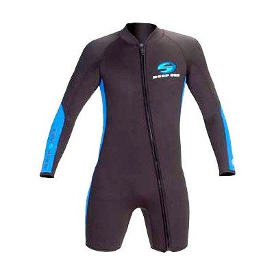 Deep See 3mm Man Shorty Long Sleeve Front Zip Dive Wetsuit - DIPNDIVE