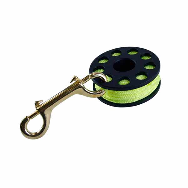 Scuba Max DR-02-Y 75 Ft Finger Spool with Brass Clip - DIPNDIVE