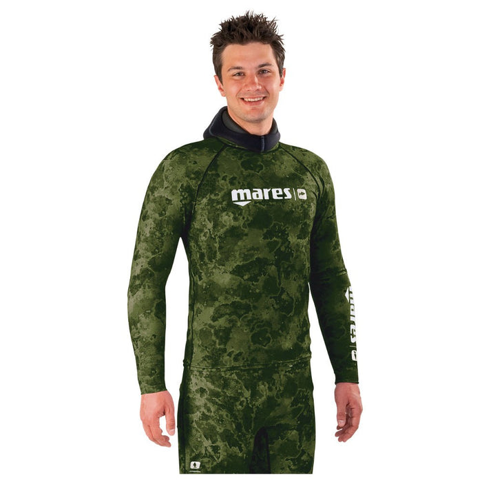 Mares Camo Green Rash Guard Top With Chest Pad - DIPNDIVE