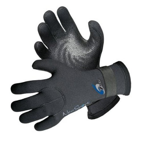 NeoSport 3mm 5 Finger Hook and Loop Gloves-XSmall - DIPNDIVE