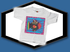Innovative Stone Washed Kid's T-Shirts Blue Fish