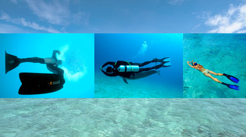 the difference between scuba, snorkeling and freediving fins