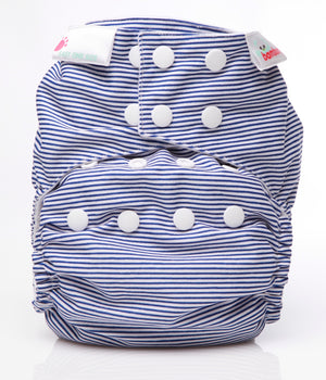 Load image into Gallery viewer, Bamboo - Snap in nappy - Navy Stripes