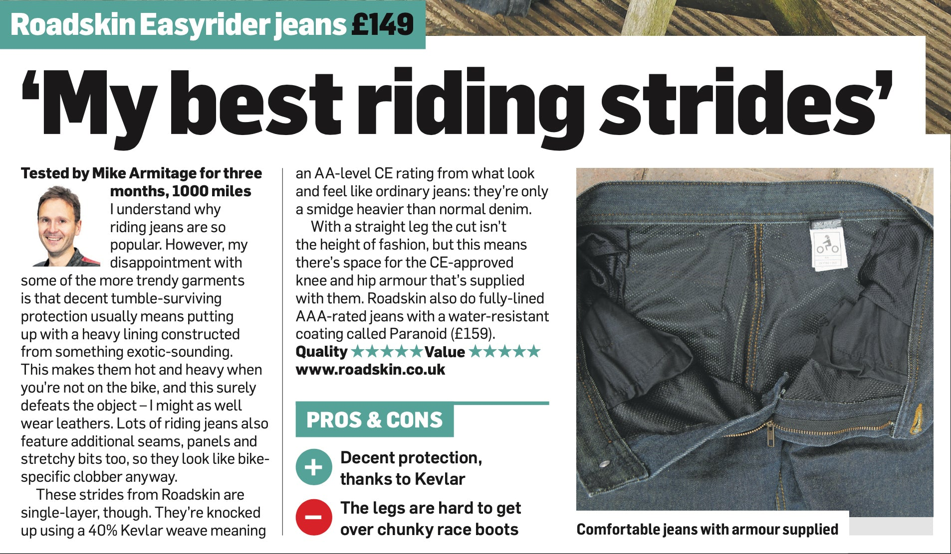 Easyrider Motorcycle Jeans Awarded Best Buy from MCN News