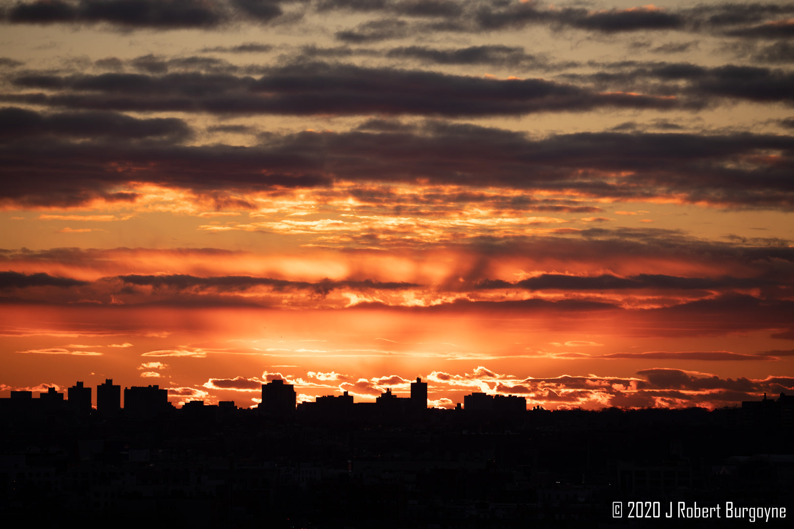 Image of a winter sunrise over Queens, New York