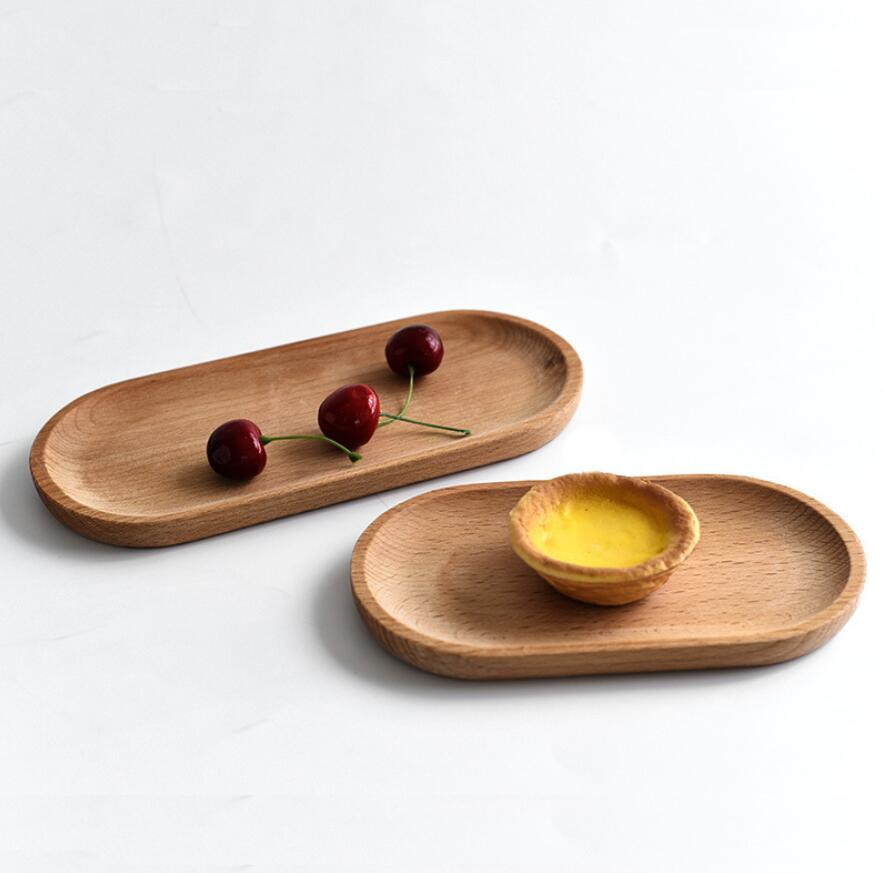 1PC Solid Mini Oval Wood Tray Without Paint  Small Wooden Plate Children's Wood Plate Tableware decorative tray