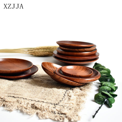 XZJJA 7.5-15cm Round Tableware Small Wooden Plate Kitchen Bread Fruit Dessert Saucer Solid Wood Snack Tray Home Trinket Dishes