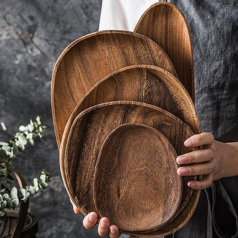 Solid Wood Irregular Oval Flat Plate Storage Tray Acacia Tea Saucer Dessert Fruit Dishes Dinner Plate Tableware Set Kitchen Acce