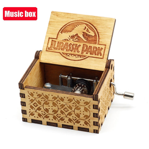 New Antique carved Wooden Hand Crank Music Box Jurassic Park Theme Music Box Queen you are my sunshine Birthday Christmas Gift