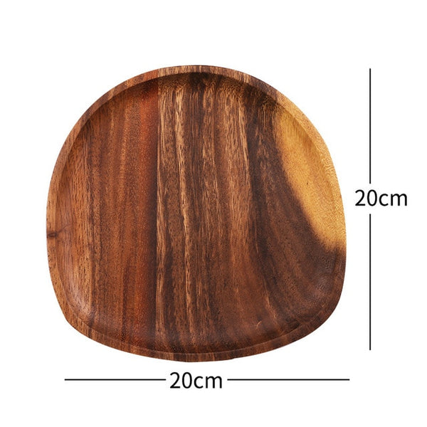 Round Solid Wood Plate Whole Acacia Wood Fruit Dishes Wooden Saucer Tea Tray Dessert Dinner Breakfast Plate Tableware Set
