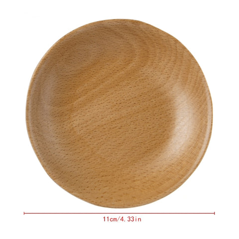 Wooden Round Plates Fruit Cake Tea Coffee Dessert Dish Food Serving Tray