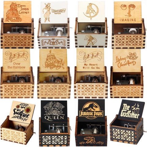 2021 Wholesale Wooden Music Box A Lot Of themesMy Heart Will Go On Jurassic Park Queen  Birthday Gifts  Christmas Gift